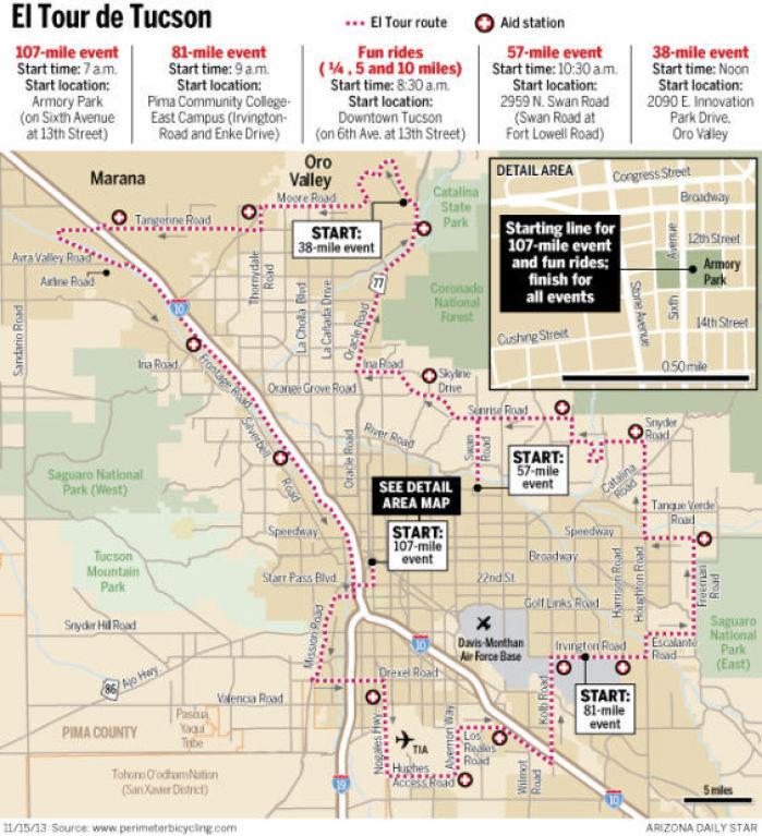 Free Maps Of El Tour De Tucson