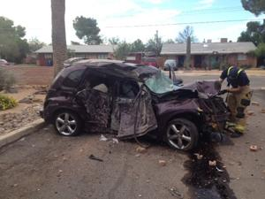 Man critical after crashing car into brick wall
