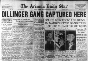 1934: Dillinger captured in Tucson