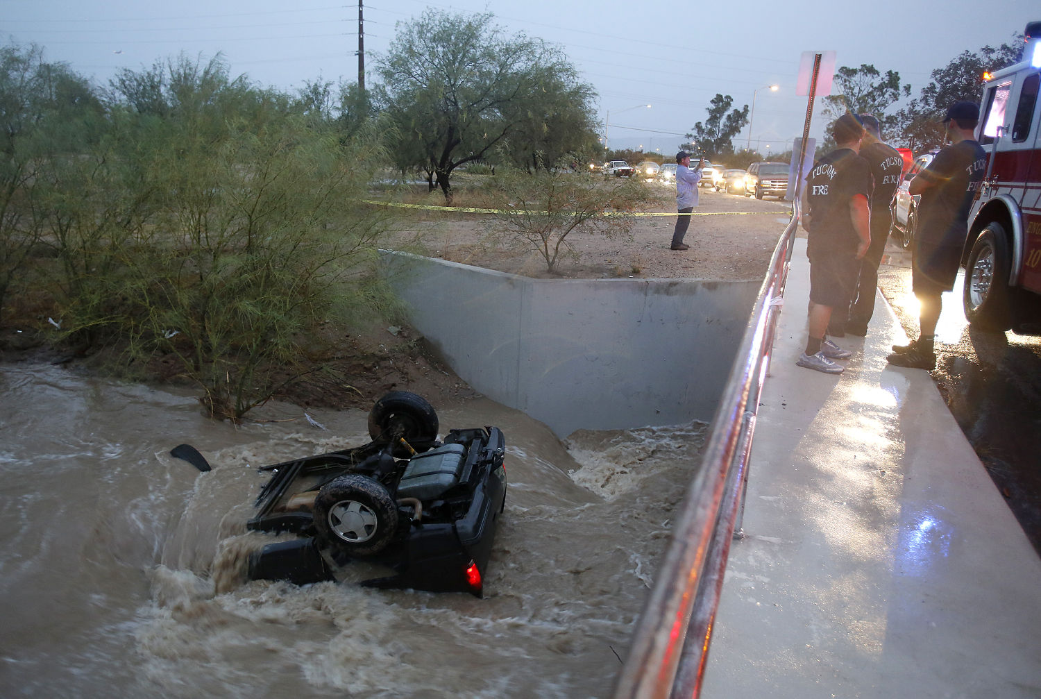 2 escape serious injury as SUV swept away