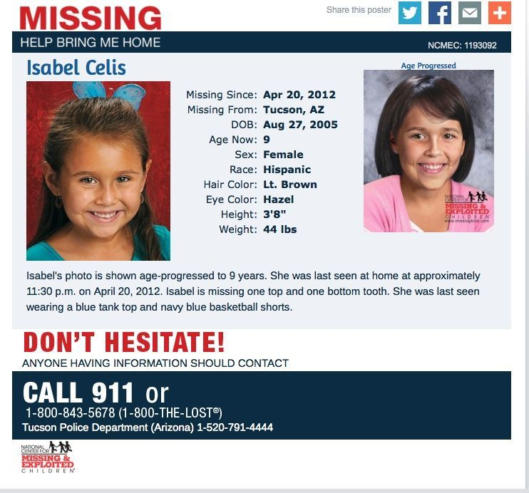 Nearly five years after she disappeared, Tucson police announced Friday that the remains of Isabel Celis were recovered from a site in rural Pima County 55a5c71e58e0a.image