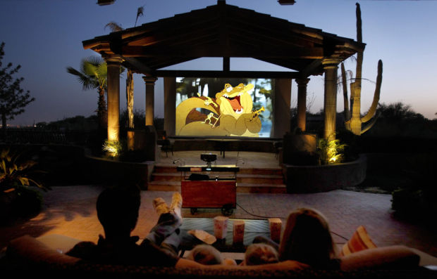 Backyard Theater Packages :  outdoor setup More and more people are watching movies outdoors these