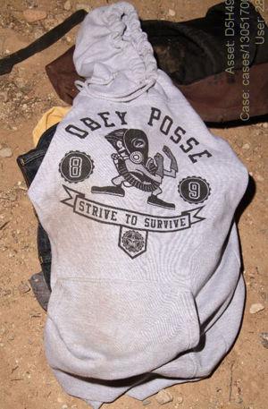 Hoodie, backpack tied to stabber