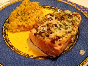 One Good Recipe: Pistachio-Crusted Salmon with Lemon Cream Sauce