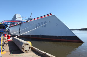 Photos: Navy's new, deadly stealth destroyer christened