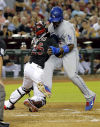 Dodgers' Nolasco deals, hits in debut