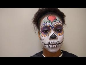 Easy lady sugar skull makeup for All Souls