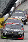 Auto racing Kahne picks up first Bristol win; Hamlin and Logano pick a fight