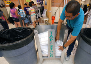 Amphi MS thinks green, recycling lunch trays