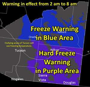 Freeze warnings for parts of Pima County