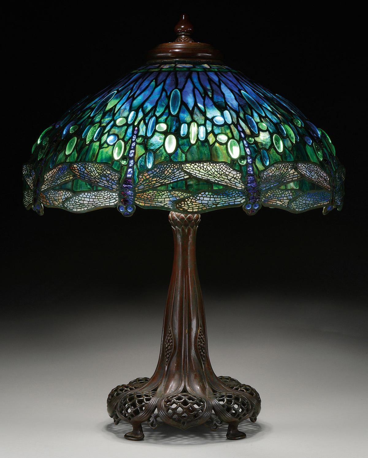 Tiffany studios dragonfly table lamp sells for more than for 1908 studios tiffany blue dragonfly floor lamp