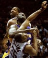 New Jersey Nets Jason Collins and Rodney Rogers vs. Lakers' Shaquille O'Neal