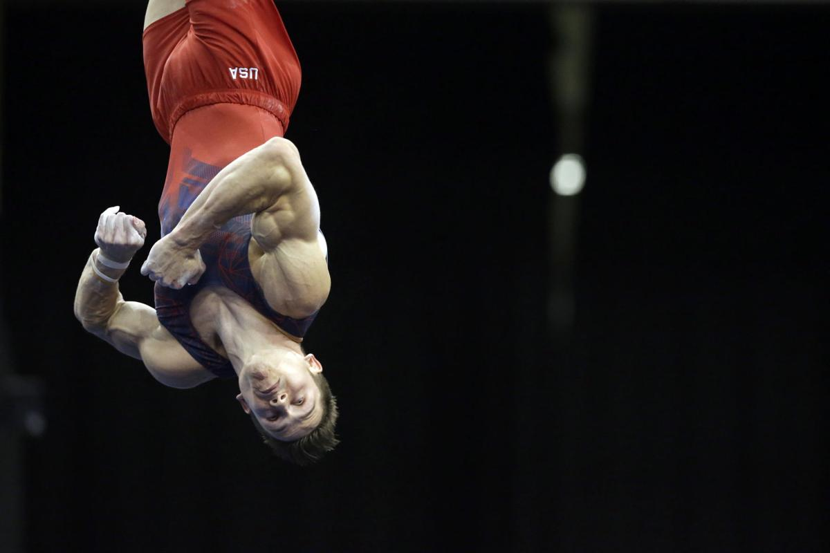 Men floor exercise gymnastics
