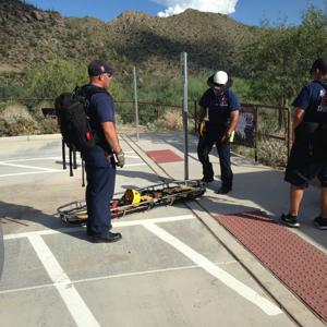 Distressed hiker being rescued on NW side