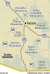 Map: Mountain ranges near Tucson