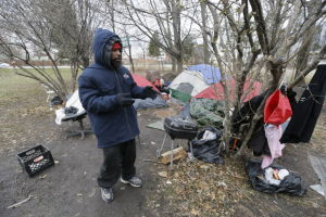 Tent city sprouts in shadow of downtown Detroit