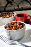 Espresso, Dark Chocolate, Pumpkin Bread Pudding with Salted Caramel Sauce
