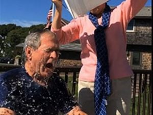 Former president George W. Bush takes the ice-bucket challenge