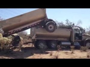 Video: Driver crashes tandem dump truck NW of Tucson