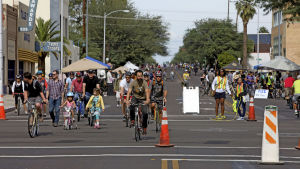 Streets open to people, close to cars at Cyclovia