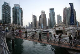 Skyscrapers and shorelines in Dubai Marina