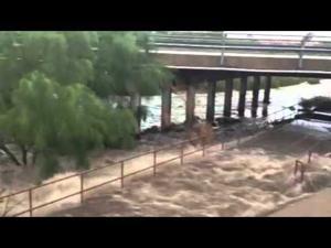 The Rillito River flows