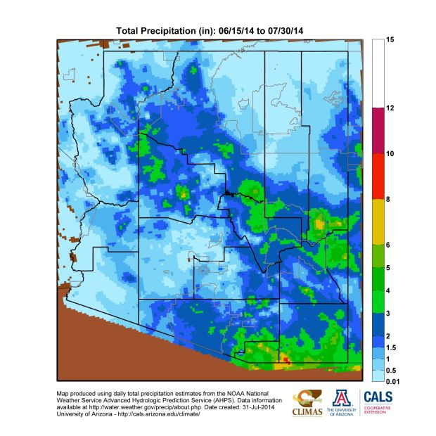 July rainfall in Arizona