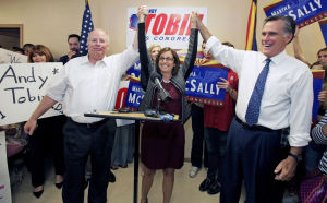 Romney stumps for McSally, Tobin