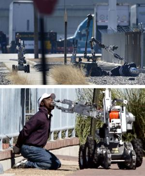 Robots search bank robbery suspects