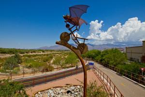 """Batty biker"" sculpture catches attention along The Loop"