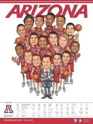 UA basketball players enjoy poster caricatures