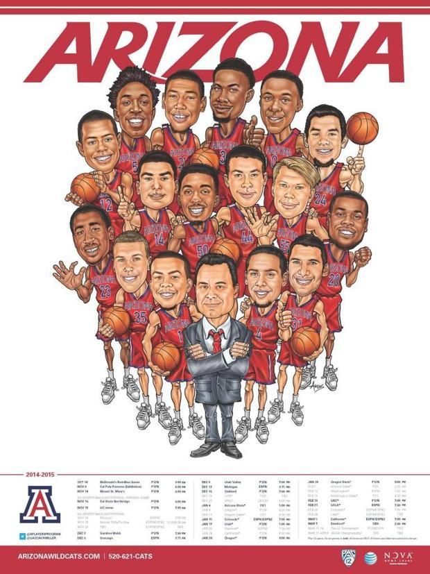 UA basketball players enjoy poster caricatures
