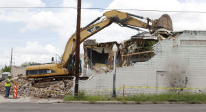 Downtown-area warehouses razed for road project