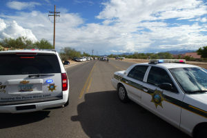 Suspect Stopped Along Shannon Road: Deputies with the Pima County Sheriff's Office were able to finally stop a man who ran from deputies with his 4-year-old child in the car. - Randy Metcalf/The Explorer