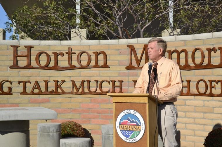 Mayor Ed Honea speaks at the Jack Horton Memorial