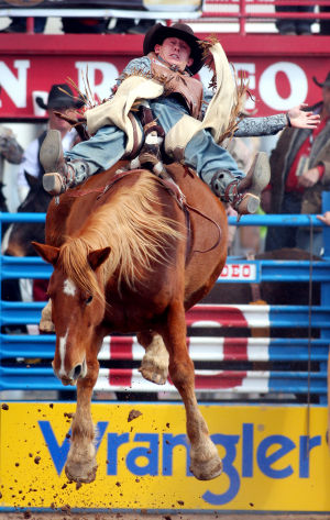 Fiesta De Los Vaqueros: Shon Gibson of Taylor, Ariz. takes a bareback ride on Dumbbell during the Fiesta de los Vaqueros Friday.  - Randy Metcalf/The Explorer