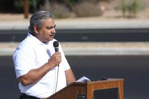 Lambert Lane: Oro Valley Mayor Satish Hiremath speaks during the Lambert Lane ribbon-cutting ceremony. - Randy Metcalf/The Explorer