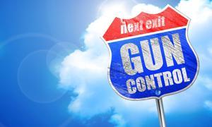 Gun control street sign