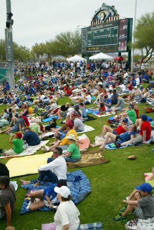Spring Training: A sold-out crowd of more than 11,000 baseball fans made their way to one of the two spring training games in Tucson last year where the Dodgers played the Cubs. - Randy Metcalf/The Explorer