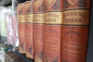 Tell Me A Good Story: Of some of the rare books for sale, Hawkeye Richardson has an 1870 10-volume set edition of Charles DickensÕ work, which sells for $1,200.  - Randy Metcalf/The Explorer