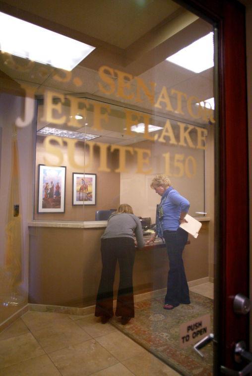 Protesting U.S. Sen. Jeff Flake