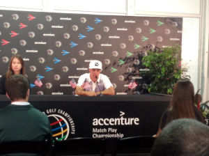 Accenture Update: Poulter Eliminated By Fouler: Rickie Fowler speaks during a press conference after winning the first match of the Accenture Match Play Championship in Marana. - Randy Metcalf/The Explorer