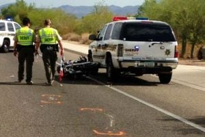 Motorcyclist Hits Sheriff Patrol Car