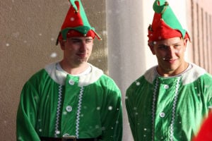 OV Church Of Nazarene Christmas Production: Walter Temple and Jeremy Kreibich dress up as elves for last years Christmas performance. - Oro Valley Church of the Nazaren