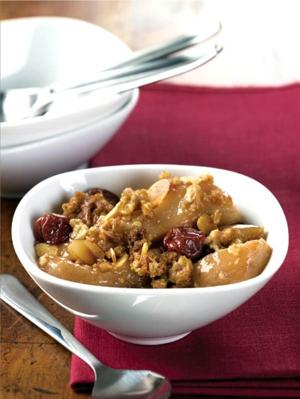 Pear and cherry crumble