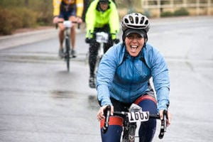 Peterman braves the cold to place first among female cyclists