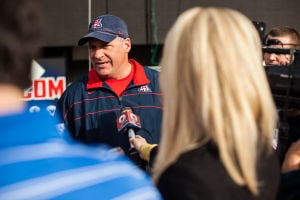 Carey Looks Toward UA Bowl Game: University of Arizona Head Football Coach Rich Rodriguez talks during a press day at Arizona Stadium before the bowl game. - J.D. Fitzgerald/The Explorer
