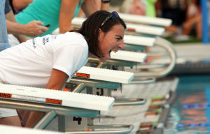 Oro Valley Open Swim Meet: Dianna Helmboldt cheers on her 10-year-old son Ricky Helmboldt. - Randy Metcalf/The Explorer