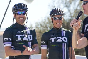 Ride On, Tucson!: Actor Patrick Dempsey and top American pro cyclist Tom Danielson are seen during the Ride On Tucson event held downtown on January 20, 2012. It was a bike party in Armory Park featuring over 1,000 cyclists on the 2.2-mile route.  - Pima County Communications Office
