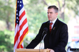 Flag Day: Pinal County Attorney Lando Voyles speaks during the Flag Day ceremony last Friday in SaddleBrooke.  - Randy Metcalf/The Explorer